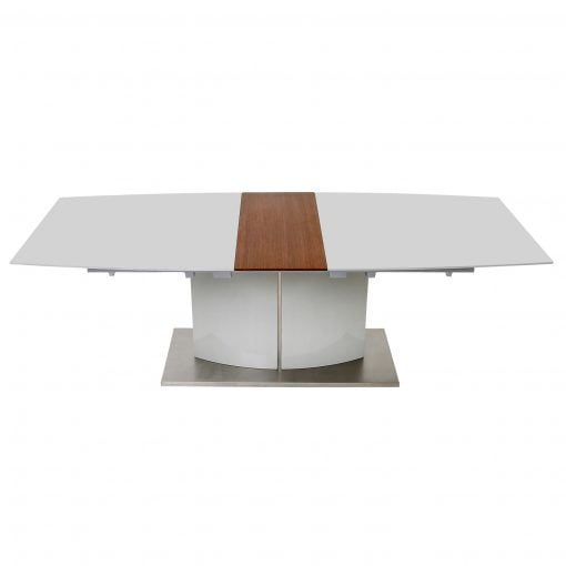 Dolcedo White Table with Walnut Extension