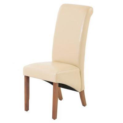 Jefferson Cream PU Chair with Dark Legs