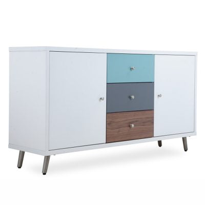 Rimini Sideboard with 3 Colour Drawers and White Doors